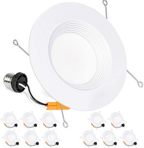 10. Hykolity 12 Pack 5 6 Inch LED Recessed Downlight, Baffle Trim