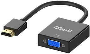 #8. HDMI to VGA Adapter, QGeeM Gold-Plated (Male to Female) for desktop