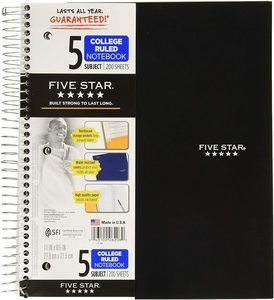 #2. Five Star Spiral 5 Subject, Notebook, College Ruled Paper