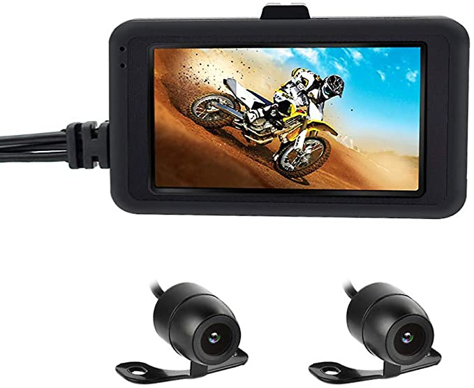 #2. OBEST Motorcycle Camera 720P Dash Cam Dual Lens 3-inch LCD