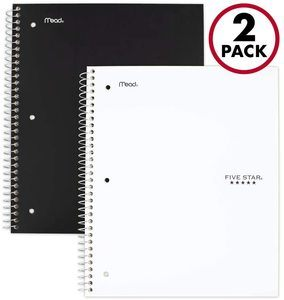 #4. Five Star Spiral 5 Subject Notebooks, College Ruled Paper