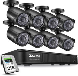 #4. ZOSI 2MP PoE Home Security Camera, 8CH NVR with 1920x1080