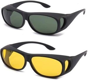 #8. HD Night Day Vision Wrap Around Anti Glare Driving Sunglasses for Man and Women