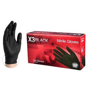 #1 AMMEX X3 Industrial Black Gloves, 3 mil, Size Small