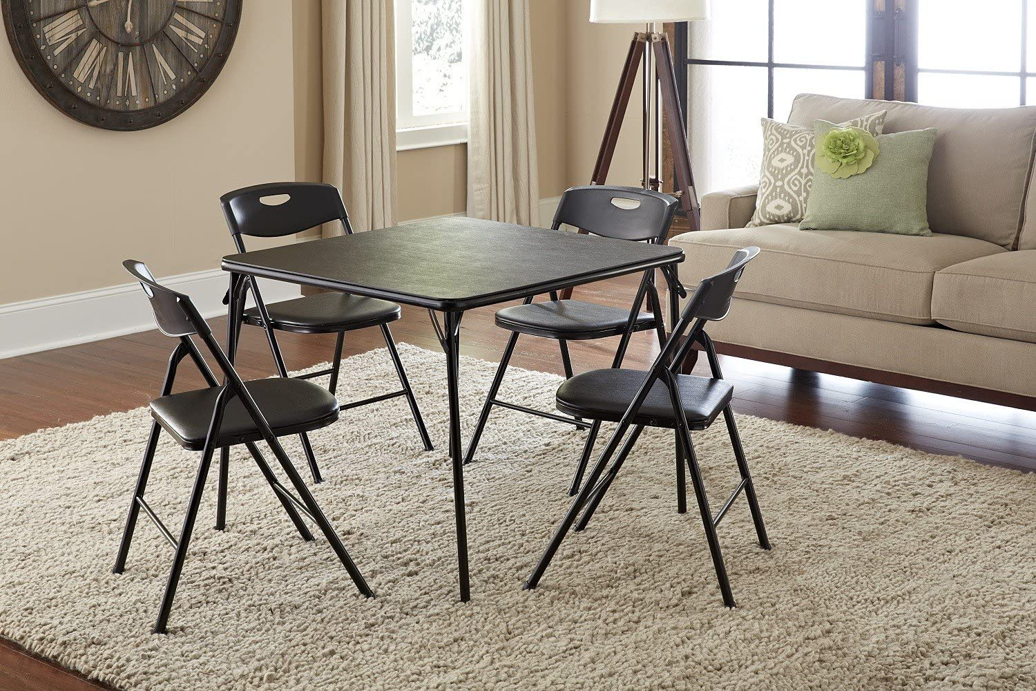 #2. Cosco 5-Piece Table and Chairs, Folding, Black…