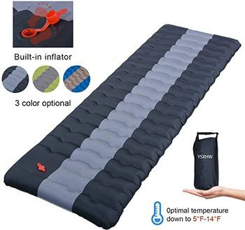 6 YSXHW Self Inflating Camping Pads 4.7 Inch Lightweight Pad Waterproof PVC Inflatable Mat for Tent