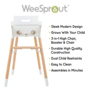 #3. WeeSprout Wooden 3-in-1 Design- High Chair