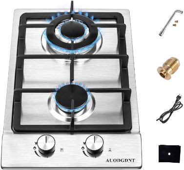 #7.Gas Stove 2 Burners Cooktop, 12 Inches
