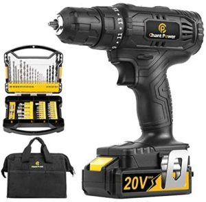 8.Cordless Drill, 20V Max Lithium-Ion Drill Driver Kit with 2 Variable Speeds