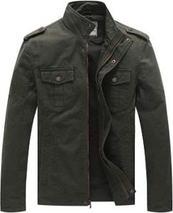 #2. WenVen Men's Washed Cotton Casual Military Jacket…