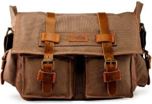 #3. GEARONIC Canvas Leather Bag for Men
