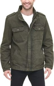 #6. Levi's Men's Two Pocket Washed Cotton Military Jacket…`