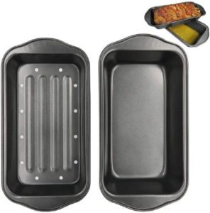 #7. Evelots 2 Piece Non Stick Meatloaf Pan