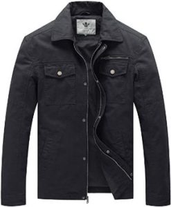 #7. WenVen Men's Casual Military Lapel Jacket Canvas Cotton…
