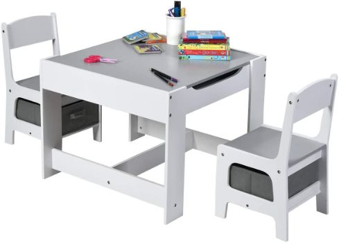 #8. Costzon 3-in-1 Kids Art Table and 2-Chair Set