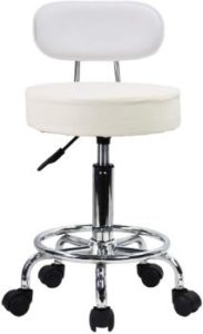 10. KKTONER PU Leather Rolling Stool (White)