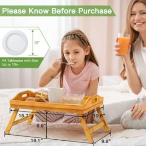 4. Pipishell Bamboo Bed Tray Table with Foldable Legs