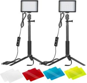 5. Neewer 2 Packs Dimmable USB LED Video Light