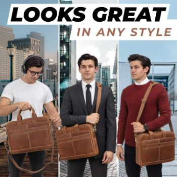 6. Luxorro Leather Briefcases for Men