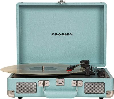 #1. Crosley CR8005D-TQ Cruiser Deluxe Bluetooth Turntable