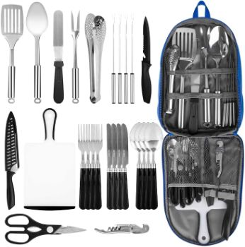 3. Stainless Steel Camping Kitchen Utensil Set