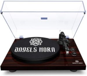 #4. ANGELS HORN Bluetooth Phonograph Turntable