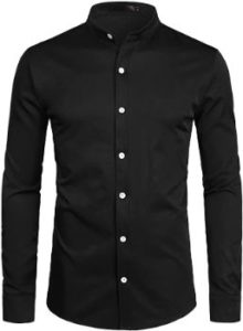 #3. ZEROYAA Men's Hipster Solid Slim Fit Dress Shirts