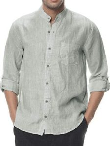 #7. Gtealife Men's Linen Shirt Casual Button Down
